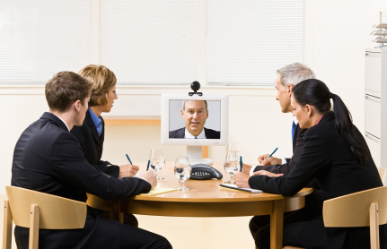 Business people in front of a video conference